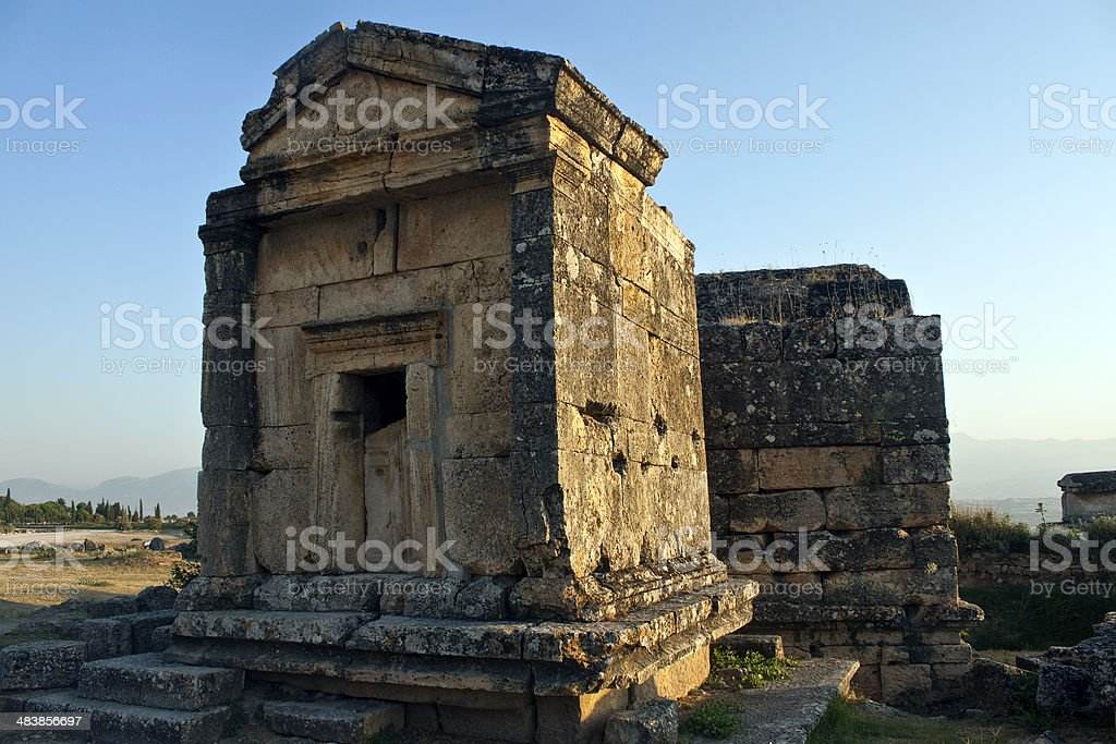 Tombs in ruins of ancient city Hierapolis stock photo