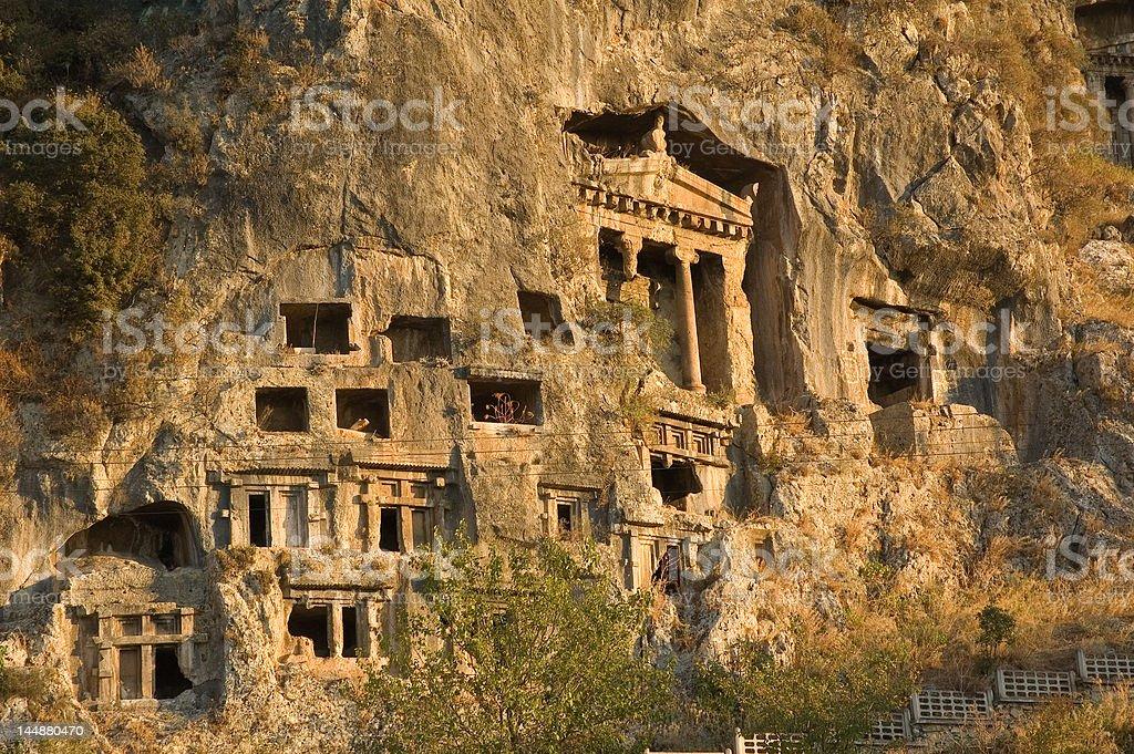 Tombs of ancient Likya kings stock photo