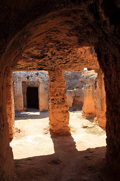 Tombs Of The Kings Tombs of the Kings, Paphos, Cyprus are a 4th century BC necropolis, of burial chambers of the Roman Hellenic period carved from sandstone, only high ranking officials were buried there and no kings 4th century bc stock pictures, royalty-free photos & images