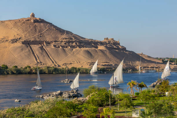 Tombs of the nobles mountain in Aswan Egypt stock photo