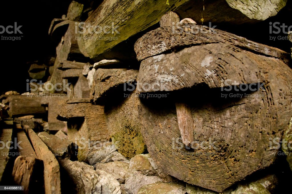 Tombs, old philipino graves that were placed in an underground cave, Cordillera, Philippines, Asia stock photo