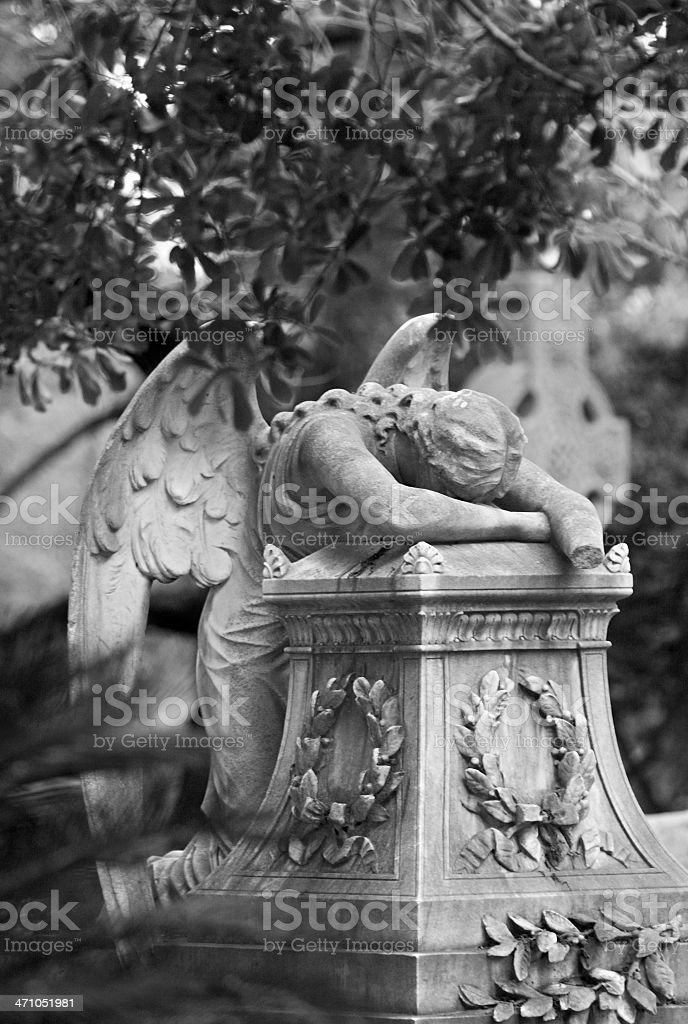 Tombstone Angel Decays Along with the Body It Weeps Over royalty-free stock photo