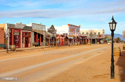 Tombstone, Arizona, USA - March 2, 2019: Morning view of shops and stores on Allen Street in the famous Old West Town Historic District