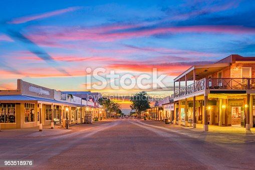 Tombstone, Arizona, USA old western town at sunset.