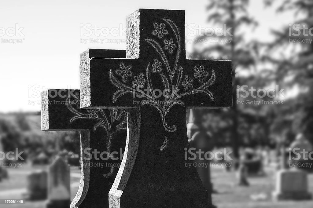 Tombstone Cross in Cemetery, Quebec, Canada royalty-free stock photo