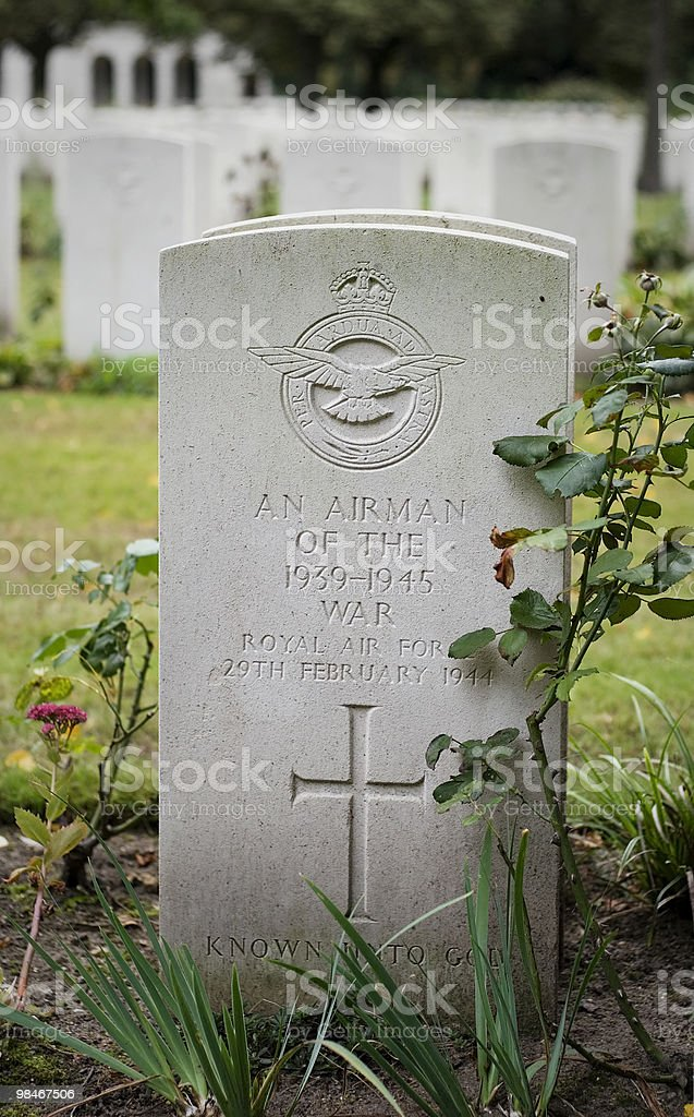 Tombstone of an unknown airman royalty-free stock photo