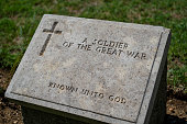 Tombstone of an unknown soldier in a military cemetery
