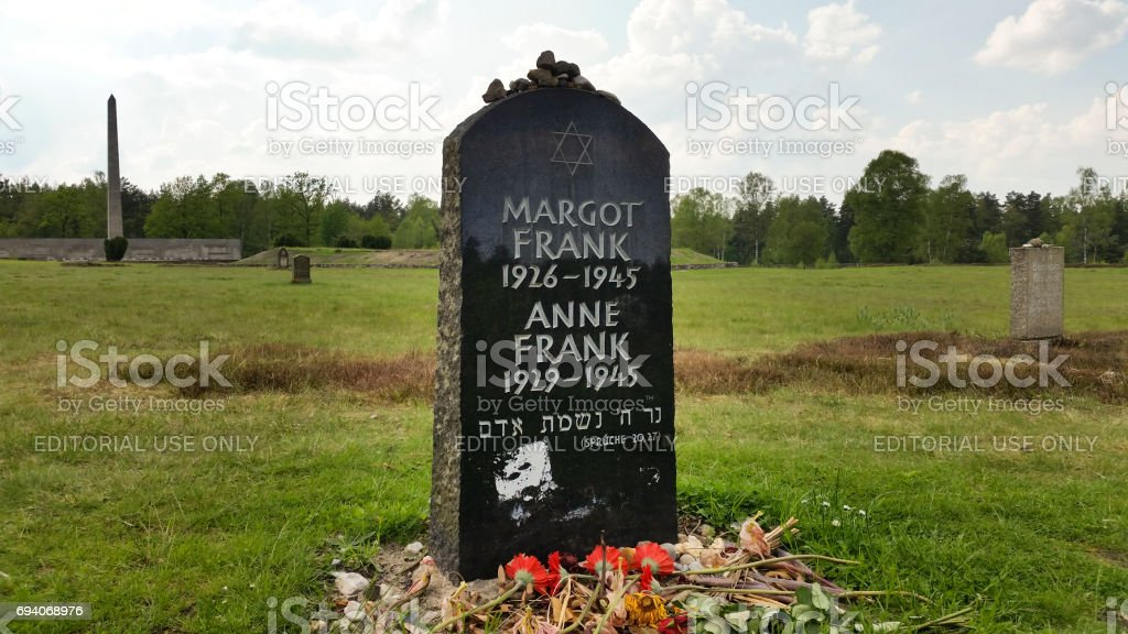 Tombstone of Anne and Margot Frank stock photo