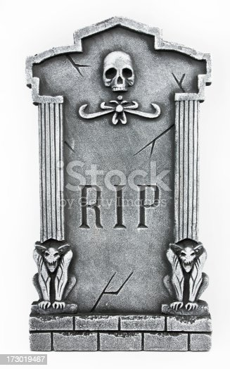 Tombstone isolated on white background.