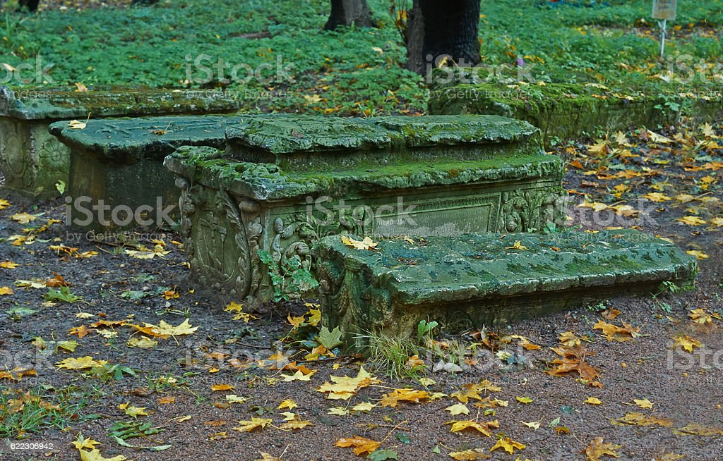 Tombstones at the  cemetery of ancient graves. stock photo