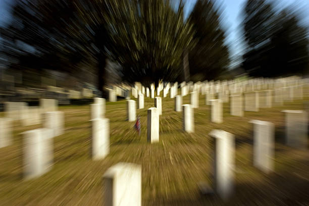 Tombstones in a Radial Blur stock photo