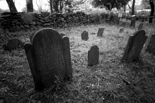 tombstones in a small rural cemetary - cemetery stock photos and pictures