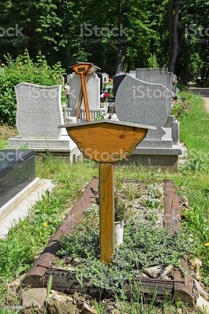 Tombstones In The Cemetery Stock Photo - Download Image Now