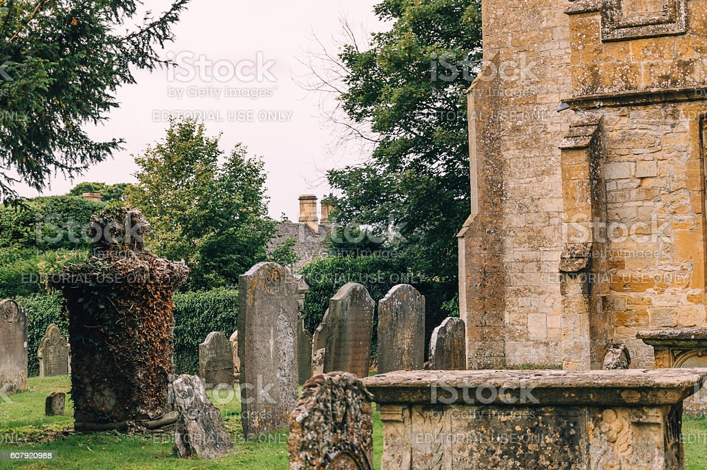 Tombstones in the churchyard stock photo