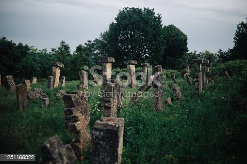 Old abandoned graveyard overgrown with grass.