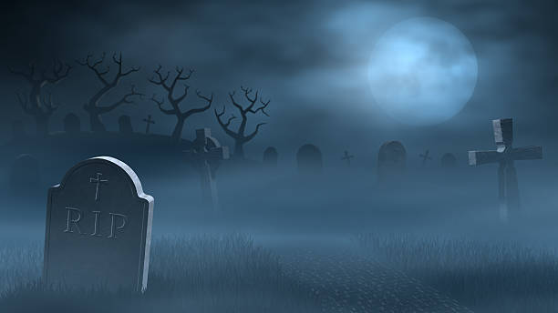 tombstones on a spooky misty graveyard, full moon at night - cemetery stock photos and pictures