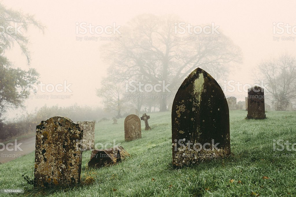 Tombstones stock photo