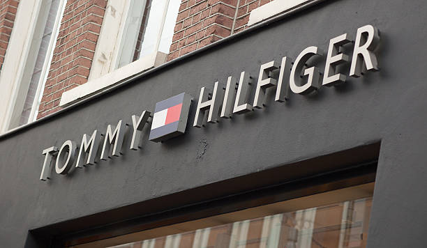 Tommy Hilfiger logo on store front in Amsterdam stock photo