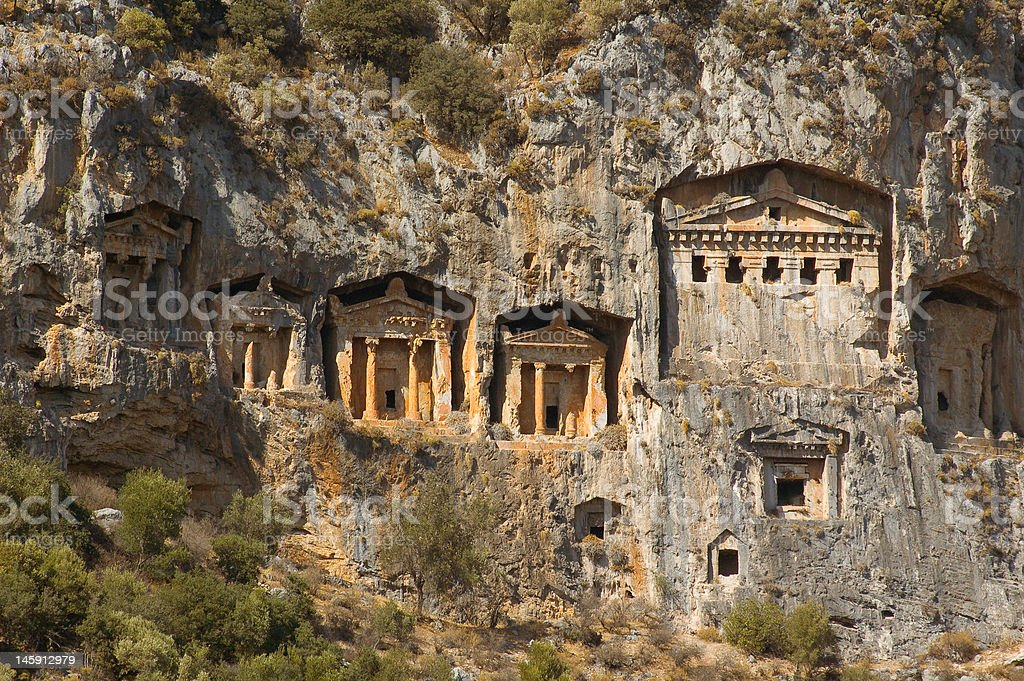 Tomns of ancient Lykia kings stock photo