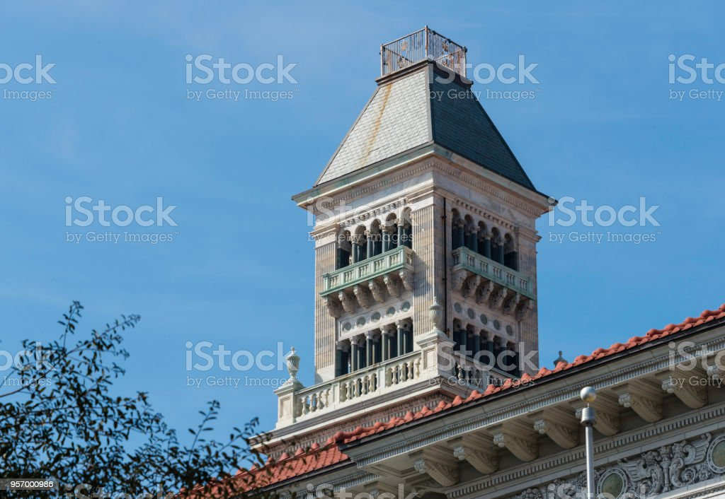 The ornate tower of the Tomochichi Federal Building and U.S....