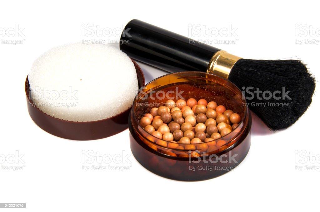 tone powder makeup isolated on white background stock photo