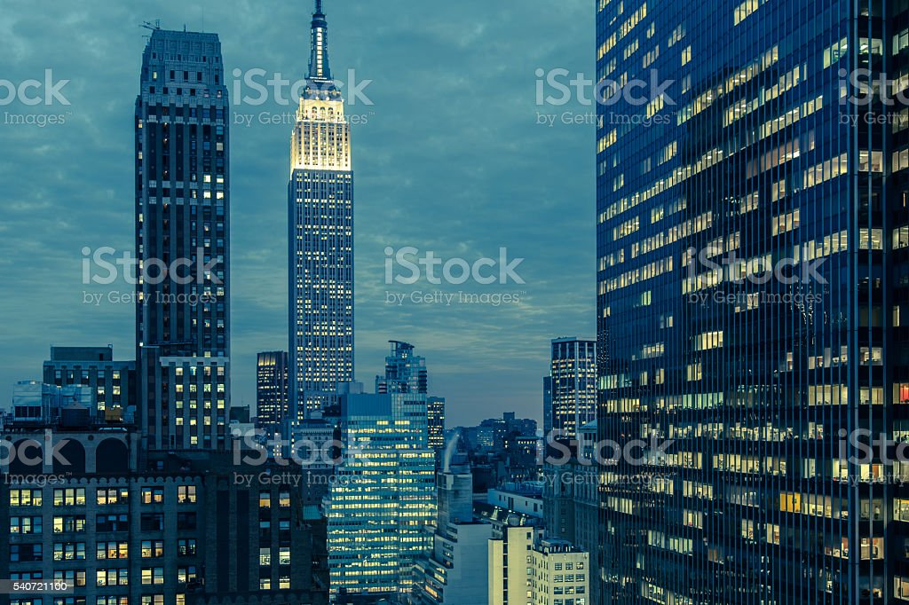 Toned early evening view of mid-town Manhattan, NYC stock photo
