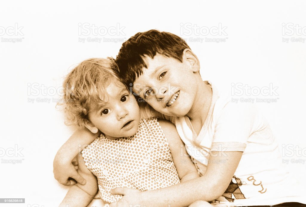 Toned image of a cute boy and girl stock photo