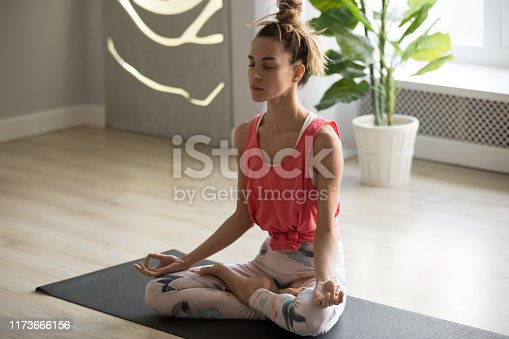 1060280760istockphoto Toned millennial woman meditate practicing yoga at home 1173666156