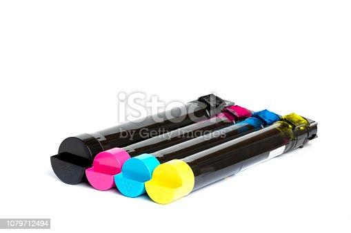 istock Toner cartridge set for color laser printer. Equipment for printingon white background. 1079712494