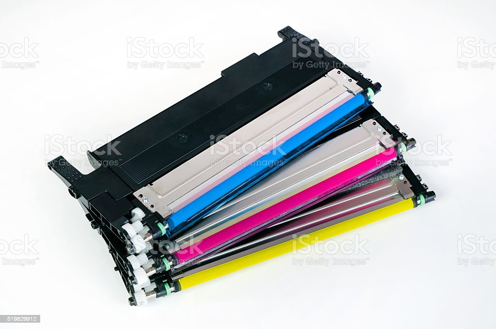 Toner cartridge set for laser printer. Computer supplies. stock photo