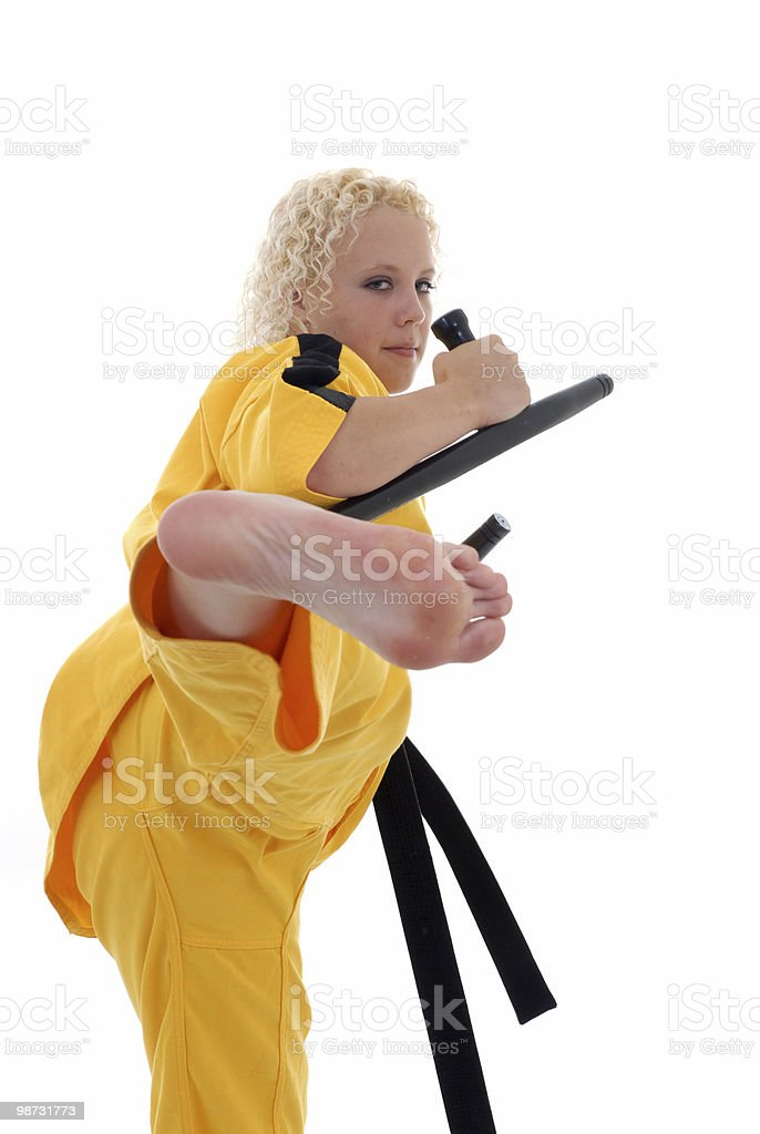 Tonfa attack royalty-free stock photo