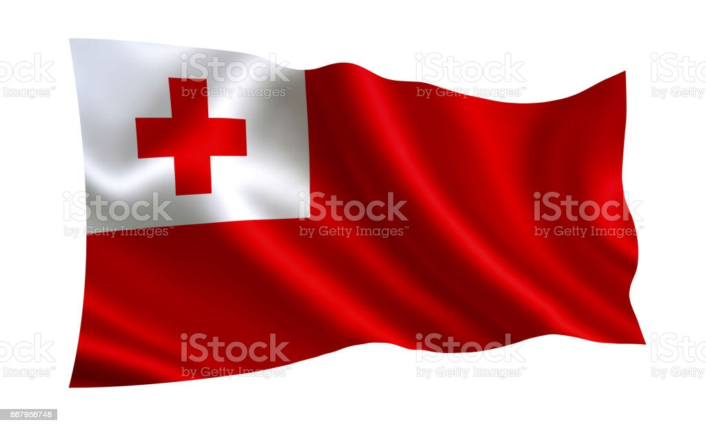 Tonga flag. A series of 'Flags of the world.'  ( The country - Tonga  flag ) stock photo