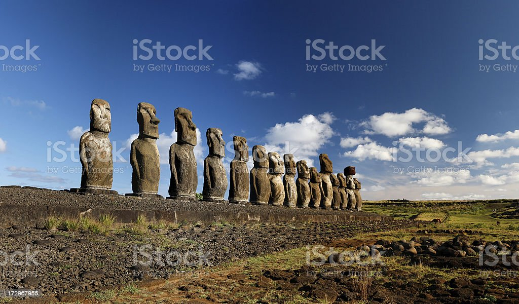 Tongariki Moai Easter Island royalty-free stock photo