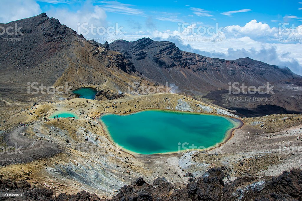 Tongariro Alpine Crossing - Emerald Lakes in New Zealand stock photo