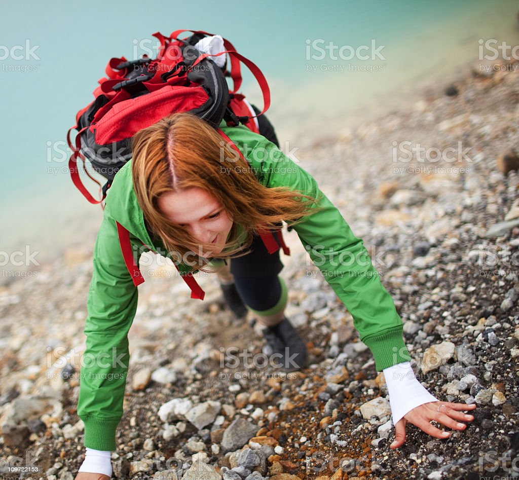 Tongariro Crossing series - climbing stock photo