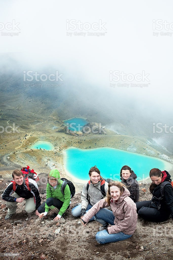 Tongariro Crossing series - Emerald Lakes stock photo