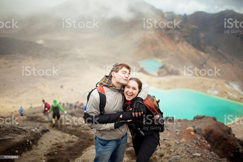 Tongariro Crossing series - happy couple stock photo