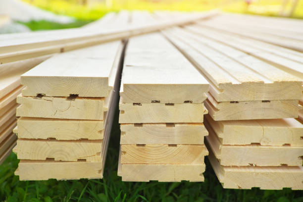Tongue and groove pine boards. stock photo