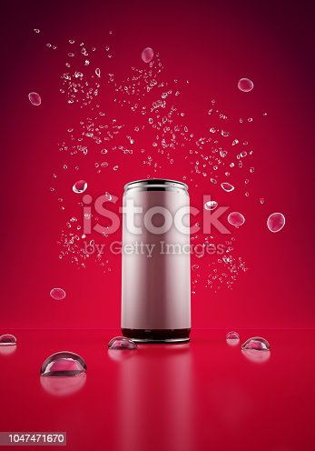 Metallic Drink can with drops of water, Poster, Placard