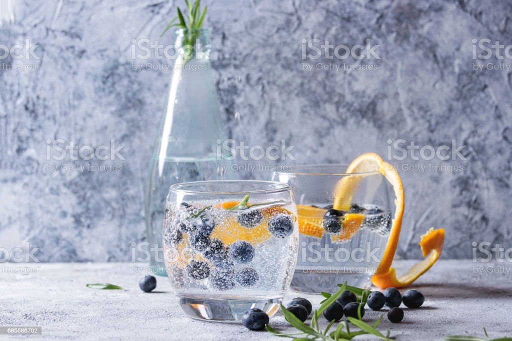 Tonic cocktail with rosemary and blueberries royalty-free 스톡 사진
