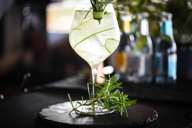 tonic gin with fresh cucumber & rosemarie spicy tonic gin with fresh cucumber & rosemarie spicy tonic water stock pictures, royalty-free photos & images
