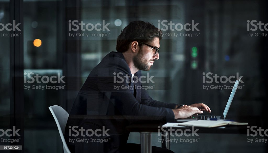 Tonight it's all about hard work stock photo