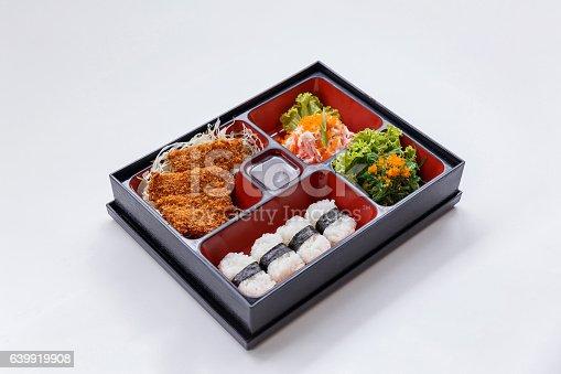 istock Tonkatsu Bento with Seaweed Salad with Ebiko and Kani Salad. 639919908