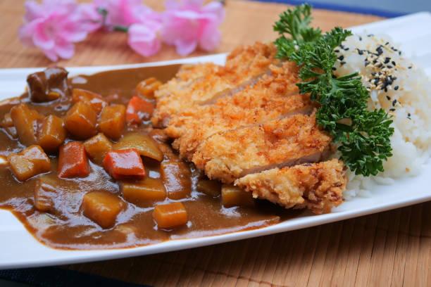 Tonkatsu, Japanese pork cutlet, Japanese deep-fried pork curry rice, Japanese curry, Katsu curry stock photo