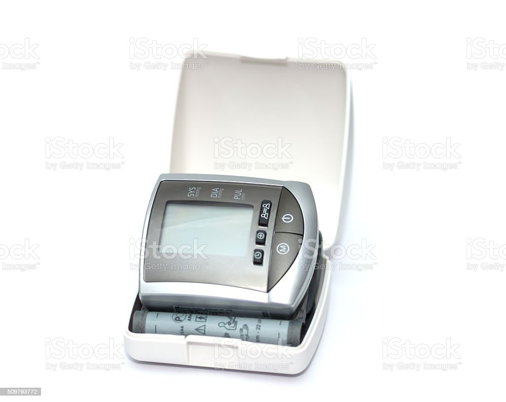 tonometer for measuring blood pressure on a white background stock photo