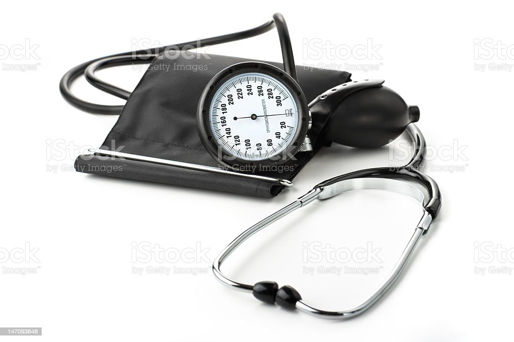 Tonometer with a stethoscope royalty-free stock photo