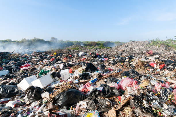 Tons of waist in Indonesia on a garbage dump in nature stock photo