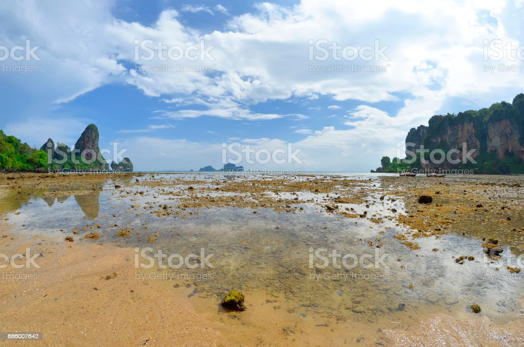 Tonsai beach at low tide stock photo