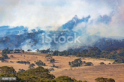 istock Too close for comfort: bushfire burning close to houses 508816746