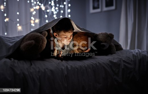 Shot of an adorable little boy using a digital tablet in bed at night